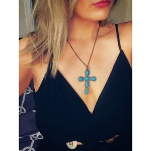 Maurices Large Turquoise Stone Cross Necklace
